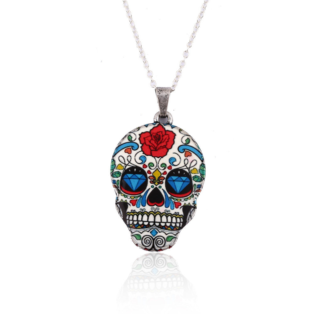 New Fashion Vintage Skeleton Pendant Necklace Women Skull Head chain Necklace Party Halloween Gifts Accessories