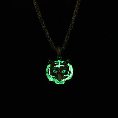 Glow In The Dark Crown Lion Tiger Pendant Necklaces Gold Color Rock Animal Necklaces For Women Men Jewelry