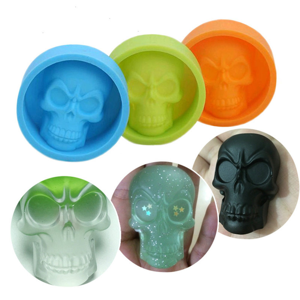 Silicone Mold 6*6*2cm Creative 3D Skull Ice Muffin Cup Cake Fondant Pudding