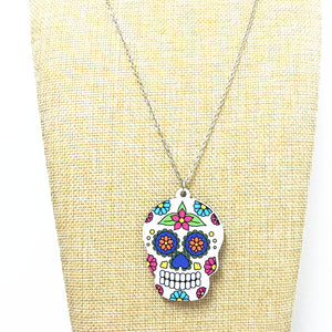 Simple Catrina Acrylic Sugar Skull Necklace Calavera Holloween Day Jewelry for Boy and Girls