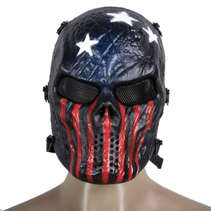 Skull Airsoft Party Mask Paintball Full Face Mask Army Games Mesh Eye