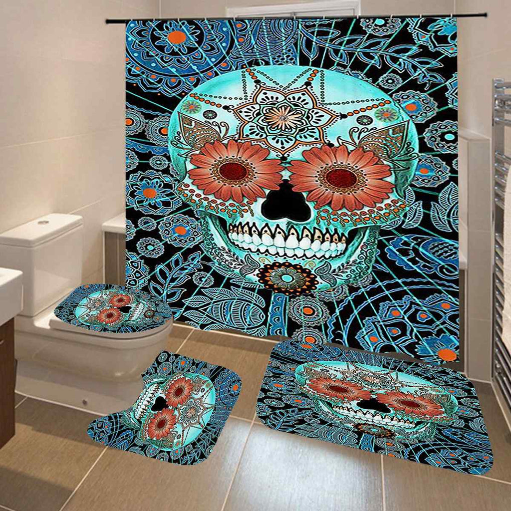 Skull Bathroom Shower Curtains Non Slip Floor Mat Rug Lid Toilet Cover Waterproof