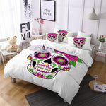 Skull Bedding Set Queen Home Colorful Flower Duvet Cover Set Rose Printed White and Black Bedclothes 3pcs US/AU/RU Size m1825