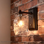 Skull Bones Wall Lamp Retro Loft Sconces Clear Glass Bottle Wall Art Light Fixtures for Dinning Room Bar