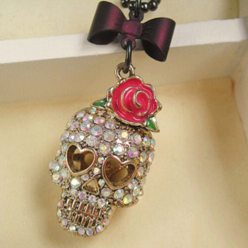 Skull Head Pendant Necklace With Rose Flower Bow Tie Long Chain Hot Gothic Hip Hop Femal Sweater Necklace Jewelry New
