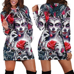 Skull Long Sleeve Bodycon Women Mini Dress Rose Floral Hoodies