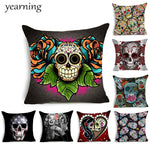 Skull Pattern Cushion Cover Colorful Print Polyester Pillow Casr