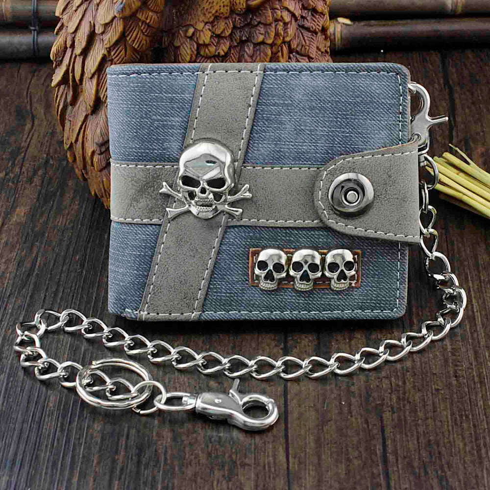 Skull Punk Biker Casual Hasp Wallet Purse With Chain For Men Or Boy