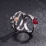Skull Punk Ring set Women Red Heart Crystal  Rings silver Color Jewelry