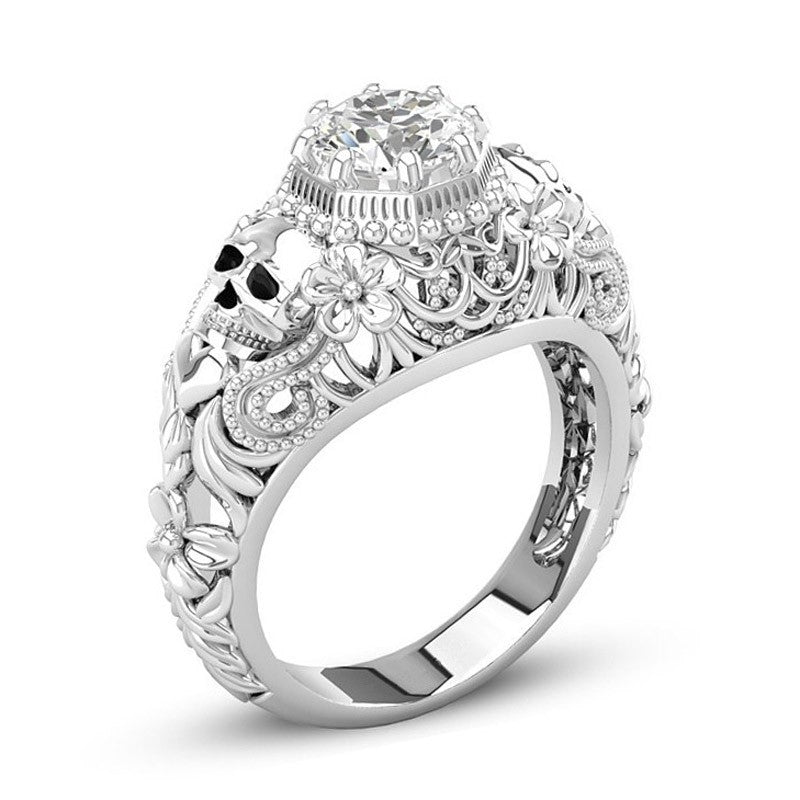 Skull Rings for Women Punk Style Jewelry CZ Stone Zircon Fashion Silver Finger Skeleton Vintage Retro European American Ring