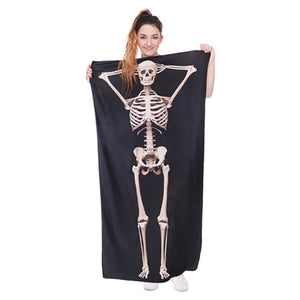 Skull Skeleton 3D Printing Black Bath Towels Microfiber Adults Thick Sport Men/Women Beach Towel Bathroom Outdoor Sport Towels