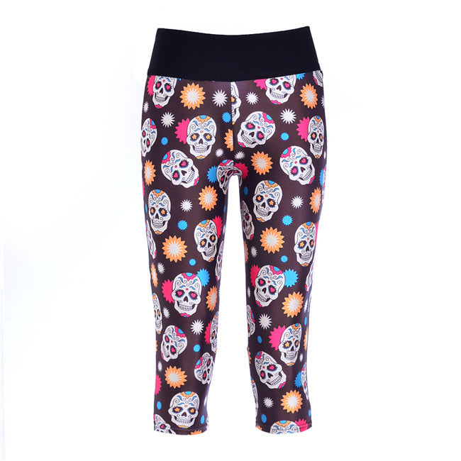 Slim Hip Women Mid-Calf Leggings Sexy Skull Digital Print Fitness Yoga Gym Cropped Trousers High Elastic Breathable Girls Capris