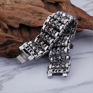 Stainless Steel 35mm Heavy Rock Men's Bike Motorcycle Chain Skeleton Skull bracelet Ghost bangle Biker Punk Pulseras Jewerly