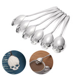 10 Stainless Steel Skull Sugar Spoon Creative Skull Shape Coffee Spoon Dessert Bar Spoon Ice Cream Candy Teaspoon Kitchen Tableware