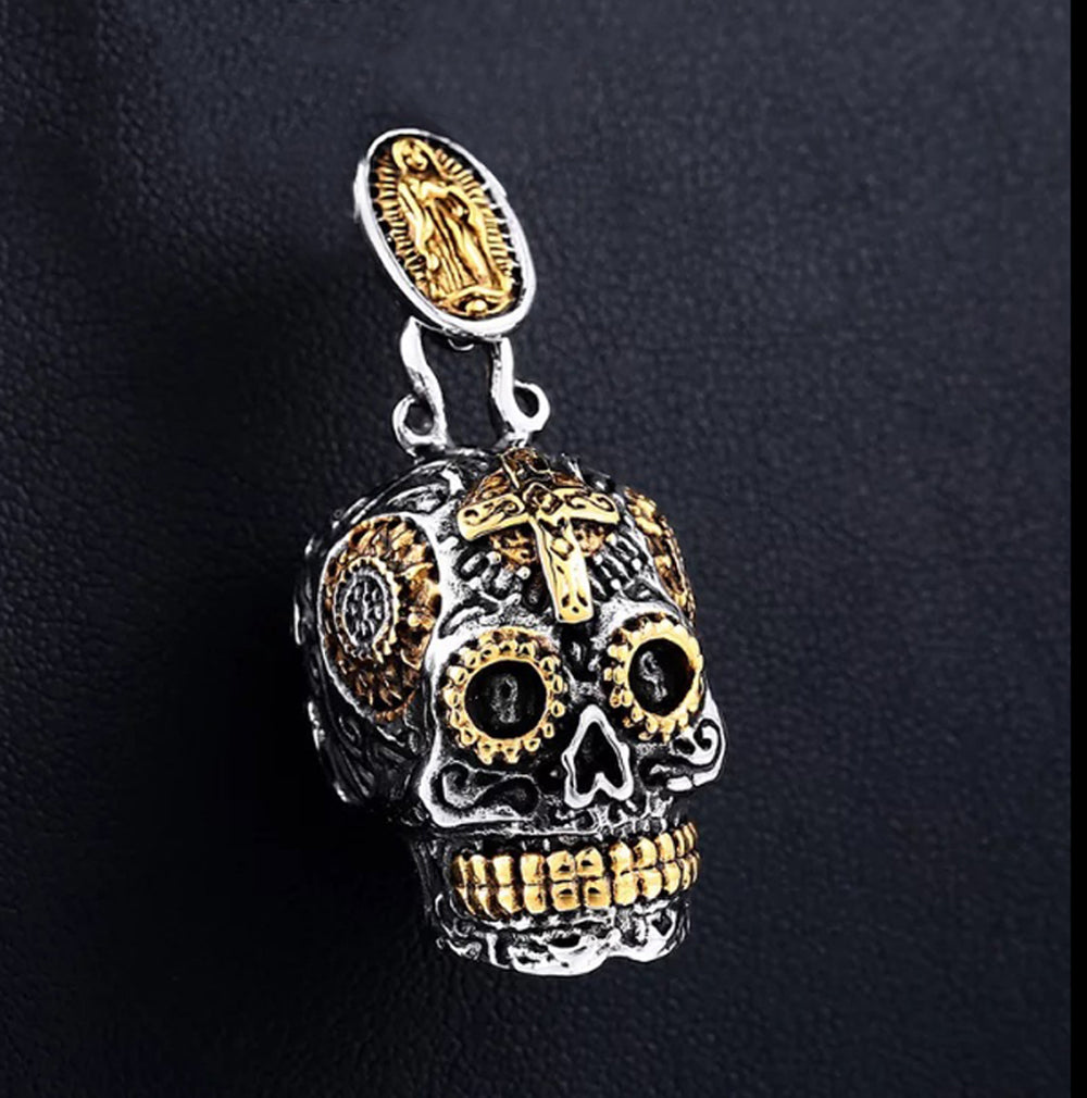 Stainless steel SUGAR Virgin Mary SKULL CROSS MEXICAN GOTHIC BIKER ROCKER PENDANT NECKLACE charm men women fashion jewelry