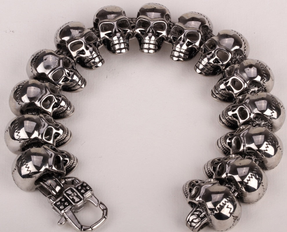 Stainless steel men bracelet skull biker heavy jewelry