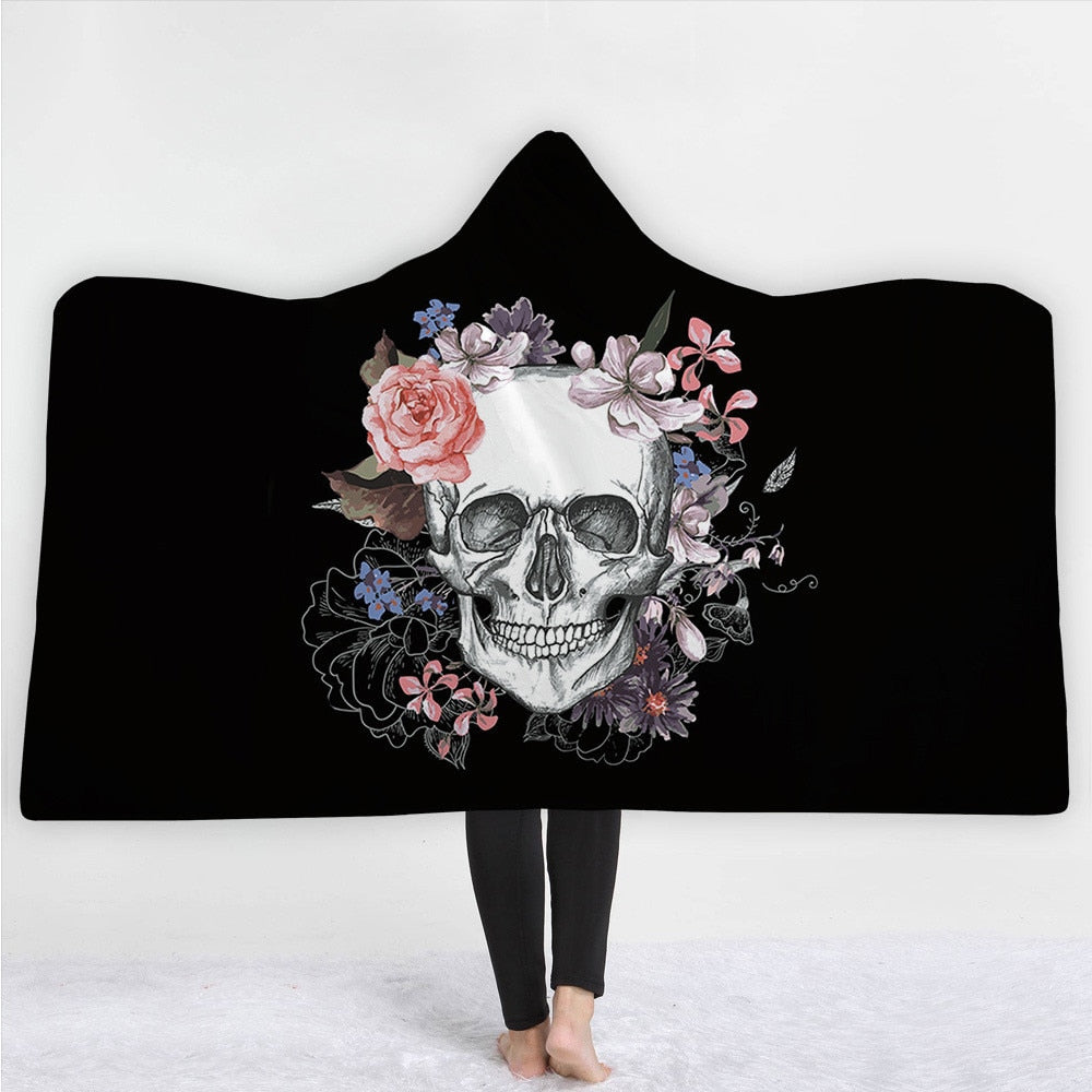 Hooded Blanket for Adults Kids Floral Gothic Sherpa Fleece Wearable Throw Blanket