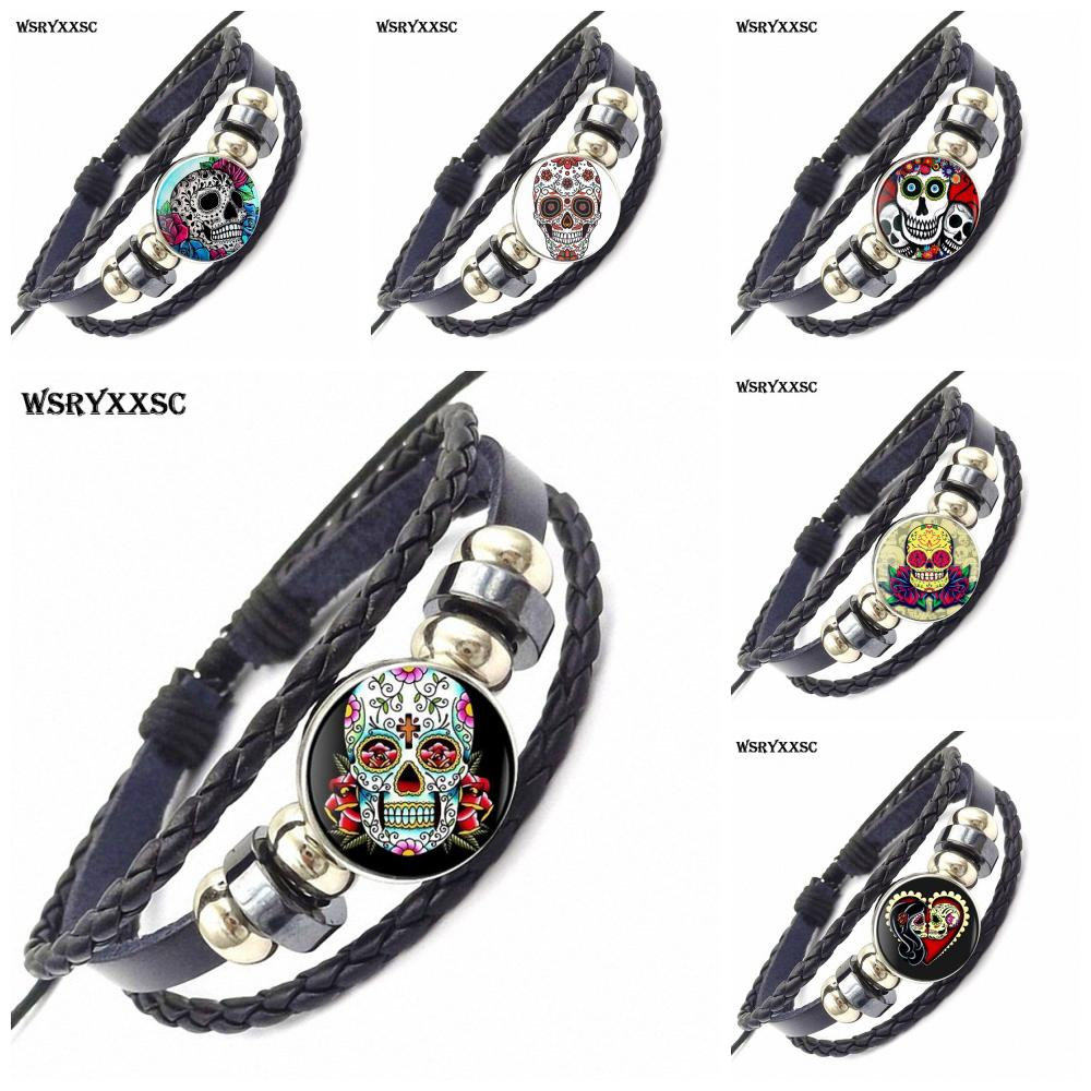Sugar Skull For Women Girls Handmade New Brand Jewelry With Glass Caochon Black Leather Bracelet Bangle
