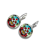 Sugar Skull Glass Cabochon Stud Earings. Day of The Dead Silver Color Glass Dome Jewelry