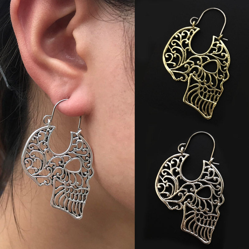 Sugar Skull Hollow Skull Tribal Brass Hoop Earrings Mandala Skull Earrings Skull Jewelry