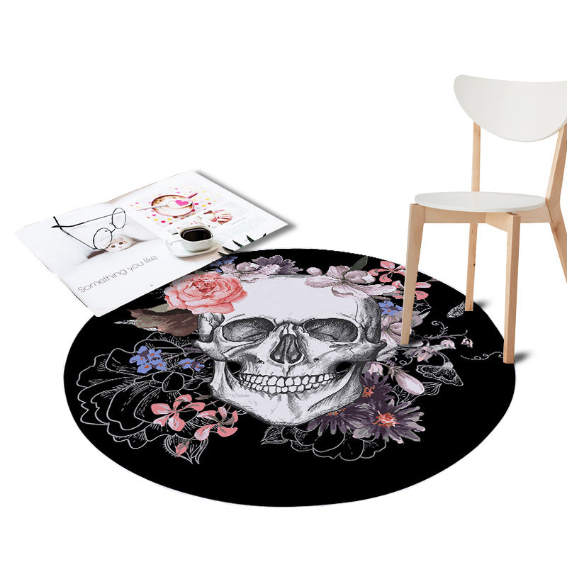 Sugar Skull Printed Coral Velvet Chair Pink Floor Mats Round Carpets Living Room Kids Bedroom Play Area Outdoor Rugs Home Decor