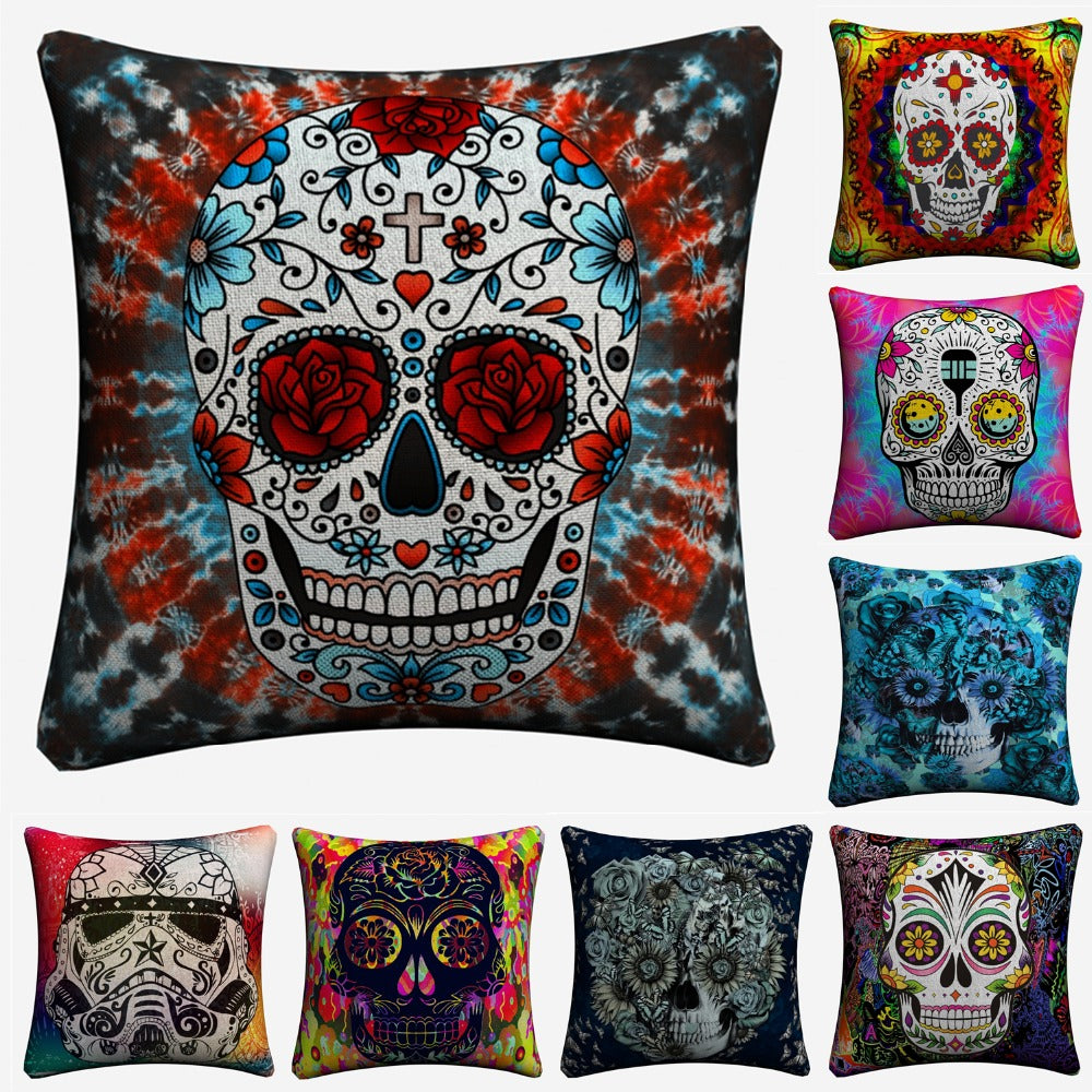 Sugar Skull Psychedelic Mandala Art Decorative Cotton Linen Cushion Cover 45x45cm For Sofa Chair Pillow Case Home Decor Almofada