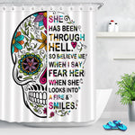 Sugar Skull Shower Curtain Floral Pattern Polyester Water-Repellent Fabric