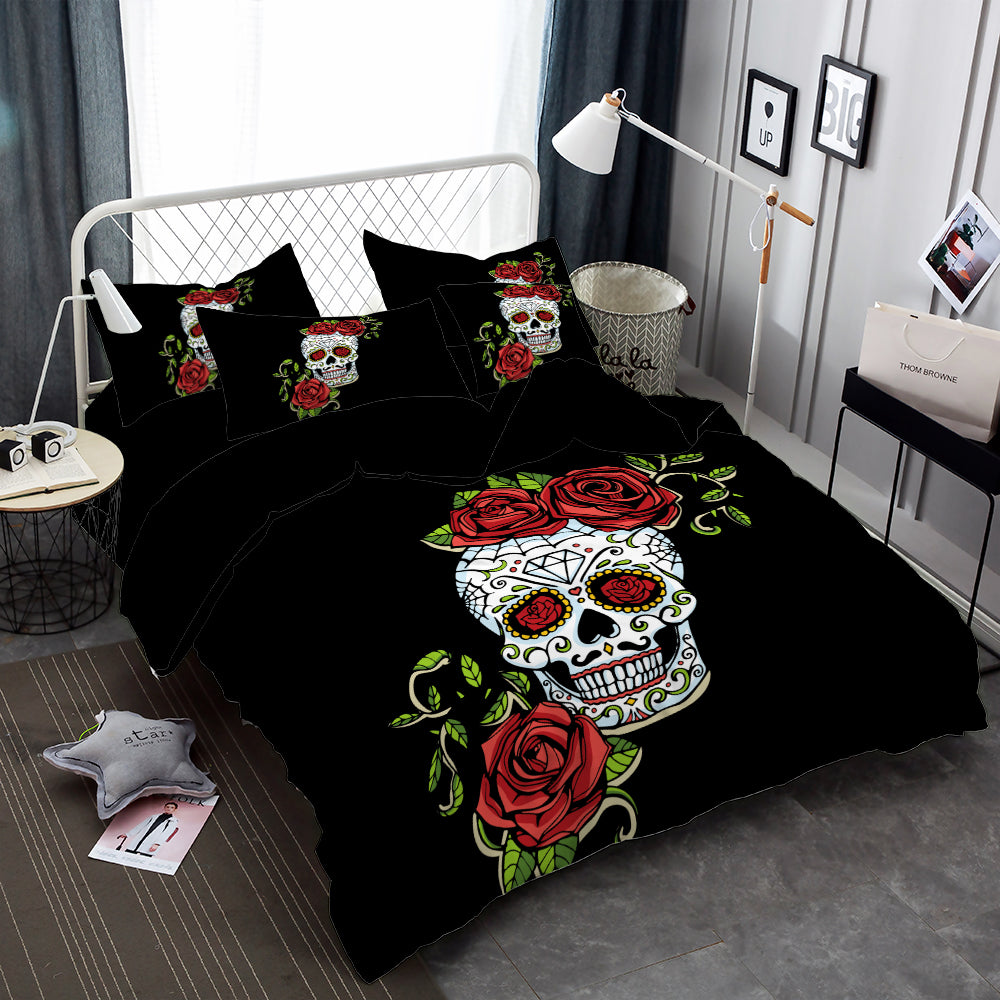 Sweet Sugar Skull Bedding Set Rose Print Lady Duvet Cover Set Pillowcase  Soft Bedclothes Bedroom Decor
