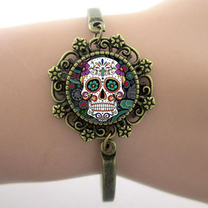 Brand fashion Sugar Skull Bracelets Skeleton Glass Gem Lace Charm Photo Jewelry New Fashion Design High Quality Gift