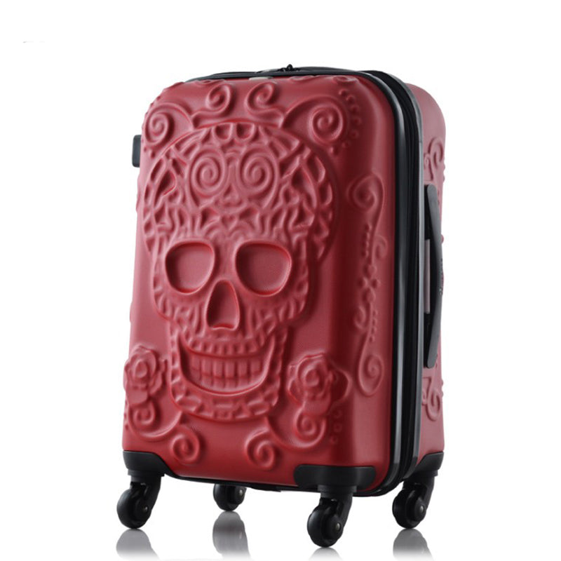 TRAVEL TALE 20,24,28 Inch Spinner Wheel skull Travel Suitcase abs hardside trolley luggage
