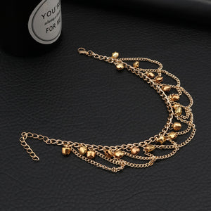 Tenande Trendy Gold Color Chain Bell Tassels Anklets Multi Layer Cross Ankle Bracelet for Women Sandals Cheville Foot Jewelry