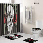 The 4 sets bathroom carpet and rug Shower curtain cranium Toilet seat cover