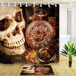The Spooky Skull with A Mechanical Clock Mildew Resistant  Shower Curtain