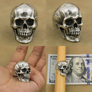 Thick Heavy Punk Retro Fashion Solid 925 Sterling Silver Cool Men's Biker Personality High Detail Skull Ring US Size 7~15