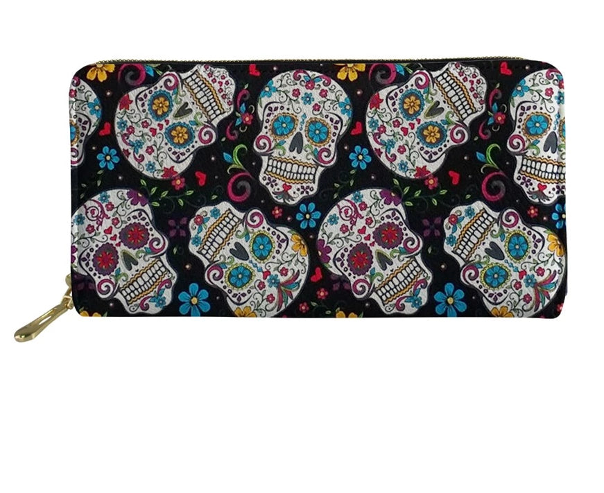 Women's Clutch Money Bags Sugar Skull Printing Long PU Leather