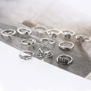 12pcs/Set Bohemia Antique Silver Arrow Elephant Fox Lion Pony Pattern Carved Animal Rings Sets for Women Jewelry 4676