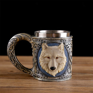 3D Creative Skull Mug Double Wall Stainless Steel Tea Cup Milk Bottle Coffee Mug Skull Knight Tankard Drinking Mug