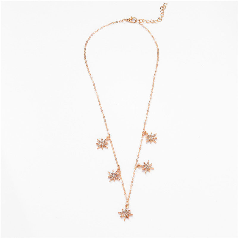 Trendy CZ Crystal Star Pendant Necklace Gold Silver Color Chain Choker Necklace for Women Jewelry Wedding Party Christmas Gift