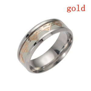 Trendy Luminous Stainless Steel Ring New Arrival Charm Glow In the Dark Ring for Couples Women& Men Jewelry 6-13 Size