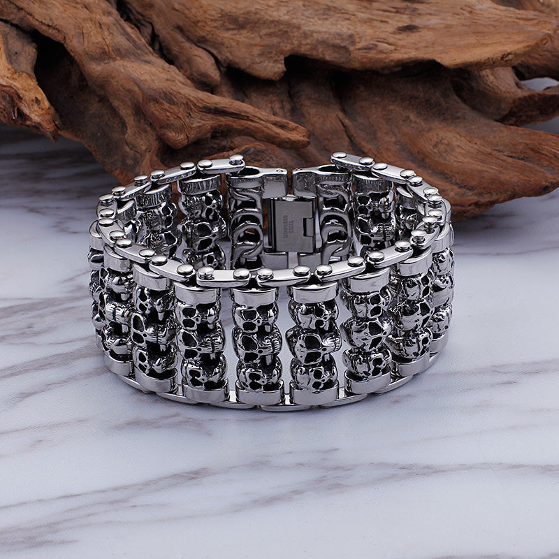 Solid Stainless Steel 35MM Wide Heavy Men's Skeleton Skull Bracelet Punk Rocker Ghost Bangle Biker Jewelry Bracelets