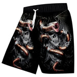 Polyester Casual Shorts Men Summer Cool Print Snake Skull 3D Beach Board Shorts Man High Waist Elastic Boxers Trousers 5XL