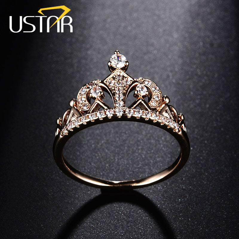 Princess Crown Rings for women AAA cubic zirconia micro pave setting engagement wedding rings female Anel accessories