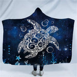 Skull Octopus Dinosaur Printed Plush Hooded Blanket