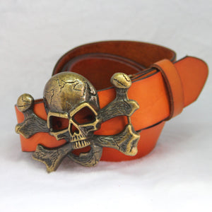 Unisex Novelty Personality Skull Buckle Belts Genuine Leather Men Belt Luxury Designer Belt For Men women Metal Buckle Jeans