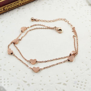 HOT SELL Lover Heart Anklet Foot Jewelry Rose Gold Titanium Steel Fashion Foot Chain Jewelry for Women Wholesale Price