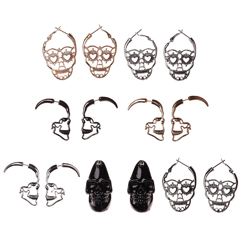 Vintage Antique Silver Color Love Heart Eyes Skull Hoop Earrings for Women Punk Party Skeleton Jewelry mujer moda