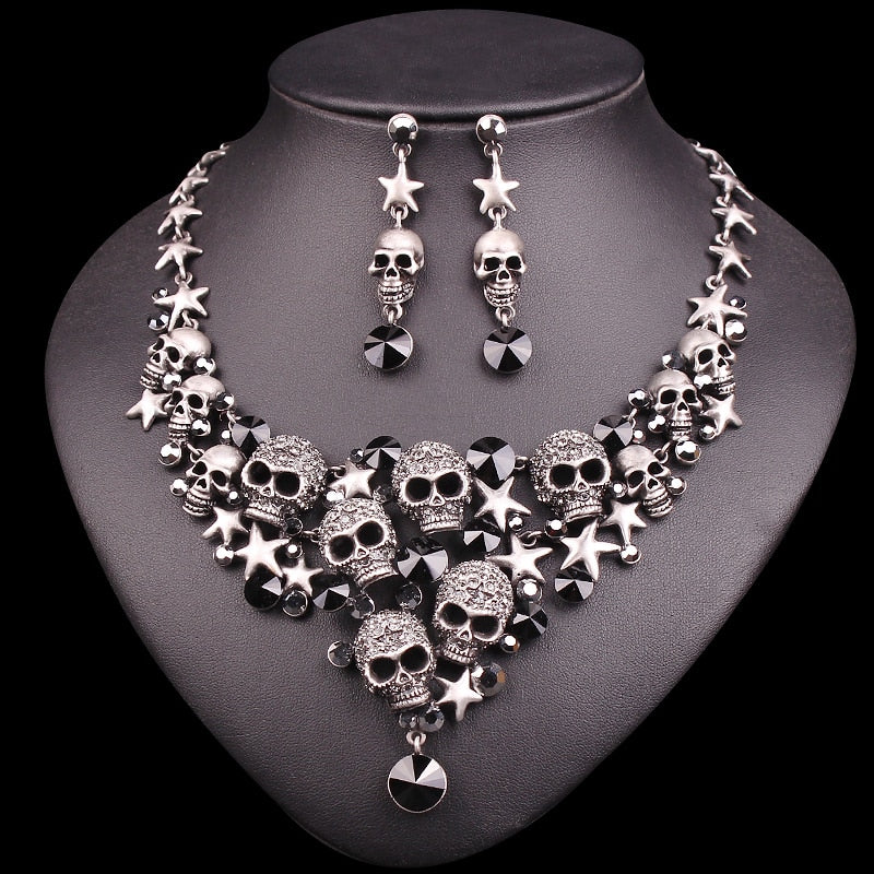 Vintage Crystal Skull Jewelry Sets Punk Necklace Earrings