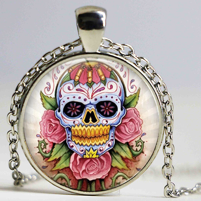 Vintage Floating Locket Bronze Chain Statement Necklace Art Picture Sugar Skull Glass Cabochon Gothic Necklaces & Pendants