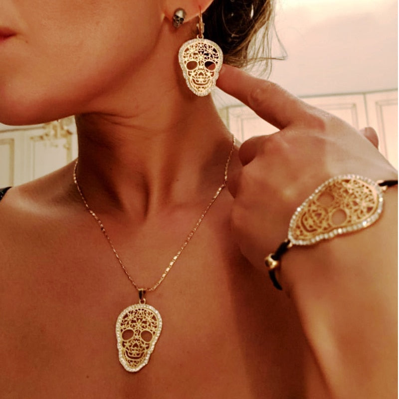 Vintage Punk Sugar skull Jewelry Set for Women Fashion Jewelry