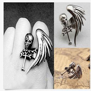 Vintage Punk Rock Gothic Cool Skull Wing Cross Adjustable Finger Ring Fashion Hot Women Fashion Jewelry